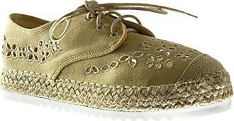 3ae516c732966d Angkorly Damen Schuhe Espadrilles Derby-Schuh - Plateauschuhe - Offen -  Perforiert - Bestickt -