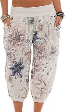 Hellomiko Women Cropped Pants Harem Trousers Uni-Colors Balloon Trousers Turkish Trousers Floral Printed Puff Baggy 3/4 Trousers Beige