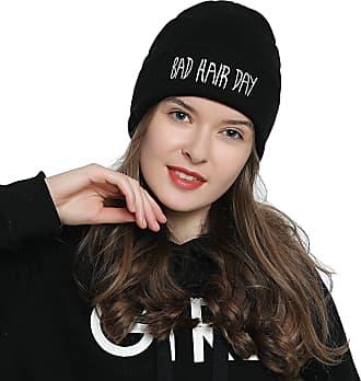 DonDon Womens stylish Beanie black with Statement - BAD HAIR DAY