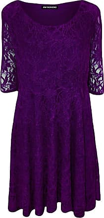 Islander Fashions Womens Plus Size Lace Lined 3/4 Sleeve Flared Skater Dress (3X-Large, Purple)