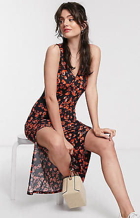 Whistles exclusive jersey vest floral midi dress in red