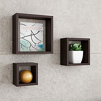 Trademark Lavish Home Floating Shelves-Cube Wall Shelf Set with Hidden Brackets, 3 Sizes to Display Decor, Books, Photos, More-Hardware Included (Dark Brown)