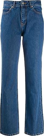 Ganni Calça jeans reta com cintura alta - Azul
