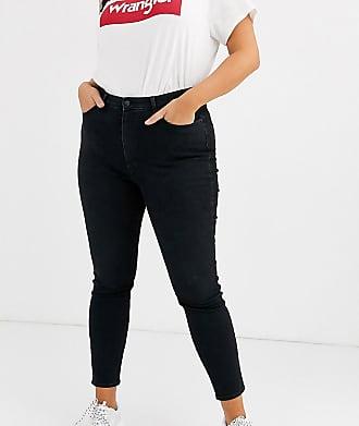 Wrangler Jeans skinny a vita alta-Nero