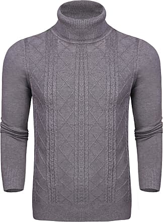 Aibrou Unisex Long Sleeve Jumper Solid Lightweight Soft Stretchy Knitwear Pullover Turtleneck Jumper Sweater with Retro Classic Diamond Stripe(Gray Men XL