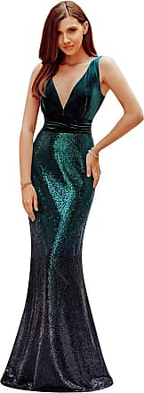 Ever-pretty Womens Deep V Neck Floor Length Velvet and Gradient Sequin Long Mermaid Evening Dresses Dark Green 22UK