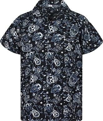 V.H.O. Funky Hawaiian Shirt, Shortsleeve, Skulls, Black, 5XL