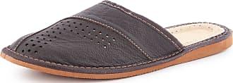 Ladeheid Men´s Leather Slippers Shoes Flipflops LABR152 (Brown, 11.5 UK)