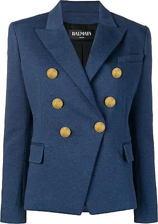 Balmain embossed button blazer - Blue