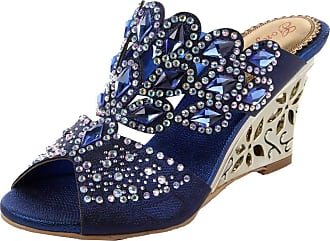 Find Nice Ladies Fashion Rhinestones Wedding Slippers Unique Dress Bride Party Wedge Sandals Blue 2.5 UK
