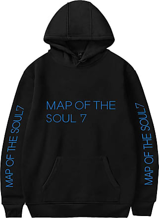 EmilyLe Womens BTS Hoodie New Album Map of The Soul 7 Printed Pullover Long Sleeve Jumper (L, Black)