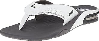 Reef Mens Sandals Fanning | Bottle Opener Flip Flops For Men, Grey/White, 13