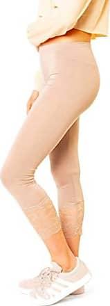 fac6bd6fab71d5 Easy Young Fashion Damen 3/4 Capri Leggings Spitze Spitzensaum Wadenlang  One Size Beige