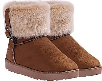 Zeagoo Women Winter Flat Snow Ankle Boots Warm Faux Fur Suede Short Boots 3 Colors