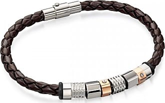 Acotis Limited Fred Bennett Stainless Steel Brown Leather Bracelet Steel Rose Beads B