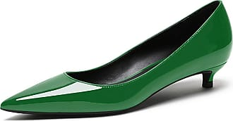 EDEFS Womens Low Heel Court Shoes Pointed Toe Slip On Comfortable Lady Shoes Green Pumps EU45/UK10.5