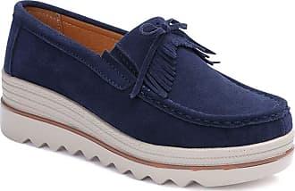 Daytwork Wedge Loafer Flat Shoes Women - Ladies Comfort Boat Deck Shoes Walking Daily Wear Moccasin Casual Flat Platform Slip On Shoes Blue