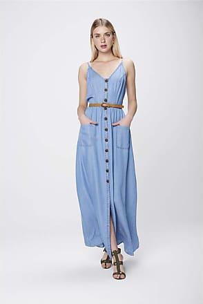 Damyller Vestido Longo Jeans com Cinto Tam: P/Cor: BLUE