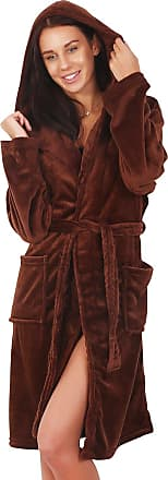 Decoking Bathrobe XS Short Women Men Unisex Hooded Dressing Gown Microfibre  Soft Snug Cosy Fleece Brown ae495f1d5
