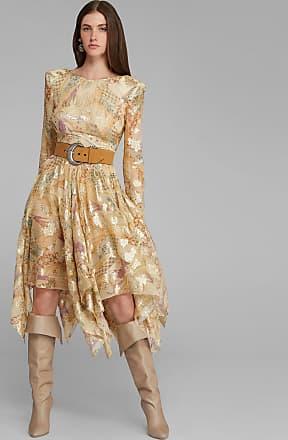 Etro Kleid Aus Seide Und Lurex Mit Paisley-print, Damen, Gelb, Größe 38