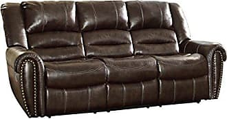 Homelegance Center Hill 90 Bonded Leather Double Reclining Sofa, Brown
