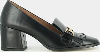Mocassins en cuir métallisé acier Femme à patte frangée et