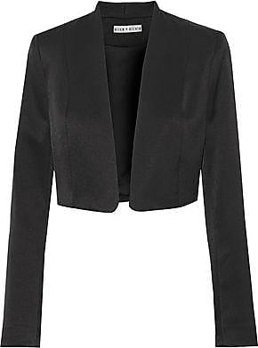 Alice & Olivia Alice + Olivia Woman Londyn Cropped Satin-crepe Jacket Black Size 10