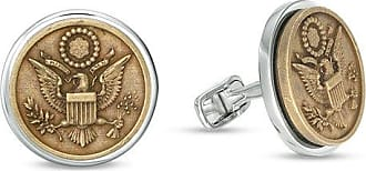 Zales Mens Oxidized Great Seal of the United States Round Cuff Links in Sterling Silver and Bronze