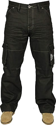Enzo Jeans Mens Jeans New EZ08 Cargo Combat in Black-Coated Colour Jeans Sizes 28-48 (44W x 30L, Black-Coated)