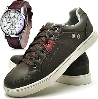 Juilli Kit Sapatênis Sapato Casual Com Relógio Masculino JUILLI 05DB Tamanho:42;cor:Marrom;gênero:Masculino