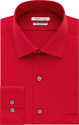 Van Heusen Mens Flex Collar Regular Fit Solid Dress Shirt, Crimson, 17.5 Neck 34-35 Sleeve