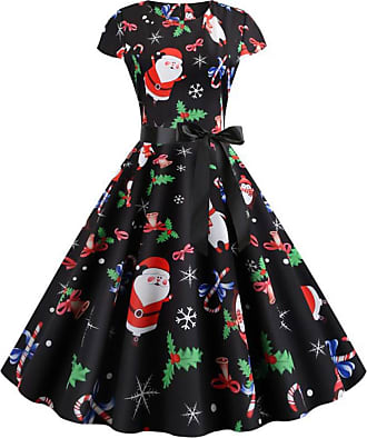 FeelinGirl Women Party Evening Dress Round Neck Short Sleeve Bow-Knot Christmas Dress Santa Claus Printing Ball Gown Prom Festival Midi Dress Mix Color XXL