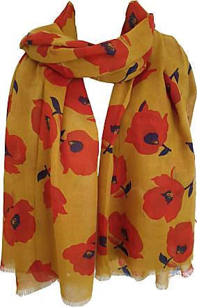 GlamLondon Womens Floral Flower Print Fashion Scarf (Y19 - Mustard)