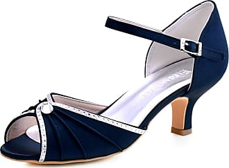 Elegantpark HP1623 Wedding Sandals for Bride Low Heel Women Bridal Sandals Peep Toe Ruched Rhinestones Satin Wedding Bridal Party Shoes Navy Blue UK 6(EU 39)
