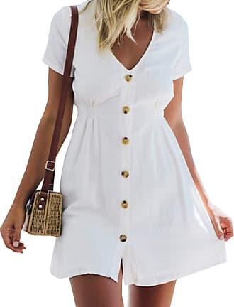 Yidarton Womens V Neck Summer Dress Button Tunic Dress Ruffled Wing Loose Shirt Dresses Short Dresses Beach Dress