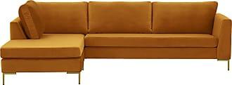 SLF24 Gosena Left Hand Corner Sofa-Velluto 8-gold metal