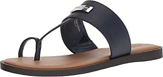 Kenneth Cole Reaction Womens Scroll in Flat Sandal with Toe Ring, Navy, 7 M US