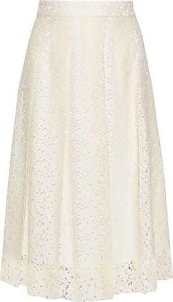 Philosophy di Lorenzo Serafini Philosophy Di Lorenzo Serafini Woman Pleated Cotton-blend Lace Midi Skirt Cream Size 44