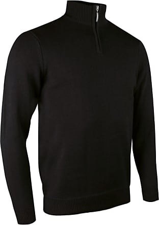 Glenmuir Zip Neck Mens Cotton Golf Sweater - Black or Navy/Sml - 2 - Navy - XL