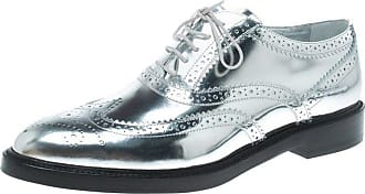 e469b5224c0 Burberry Metallic Silver Brogue Leather Gennie Lace Up Oxfords Size 40