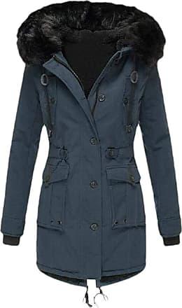 VITryst Womens Winter Coats Hooded Warm Faux Fur Lined Jacket Outwear Parka Anroak Long Coats,Dark Blue,XX-Large