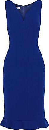 Oscar De La Renta Oscar De La Renta Woman Ruffle-trimmed Wool-blend Stretch-crepe Dress Indigo Size 4