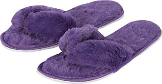 Forever Dreaming Womens Open Toe Memory Foam Faux Fur Indoor Flip Flop Thong Slippers Purple 5