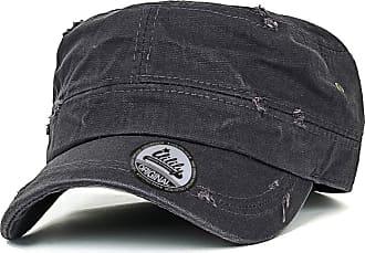 Ililily Solid Color Distressed Cotton Cadet Cap Vintage Military Army Style Hat, Dark Grey, Medium