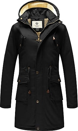 WenVen Womens Mid-Length Winter Cotton Jacket Hooded Coat Black Small
