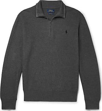 Polo Ralph Lauren Waffle-knit Cotton Half-zip Sweater - Gray