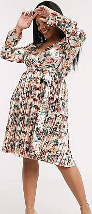 Missguided puff sleeve ruffle hem wrap tea dress-Multi