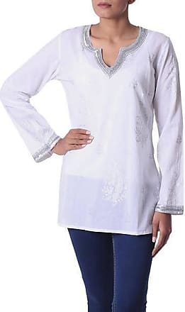 Novica Beaded cotton tunic, Paisley Whisper - Sheer White Beaded Cotton Blouse with Sequins India
