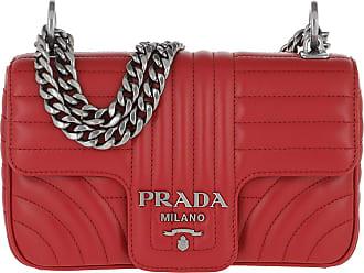 2e56ad755099c Prada Diagramme Crossbody Bag Leather Fuoco 2 Umhängetasche rot
