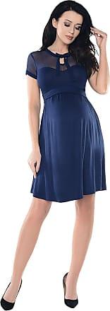Purpless Maternity Sheer Mesh Teardrop Keyhole Bow Tie Pregnancy Dress D016 (12, Navy)